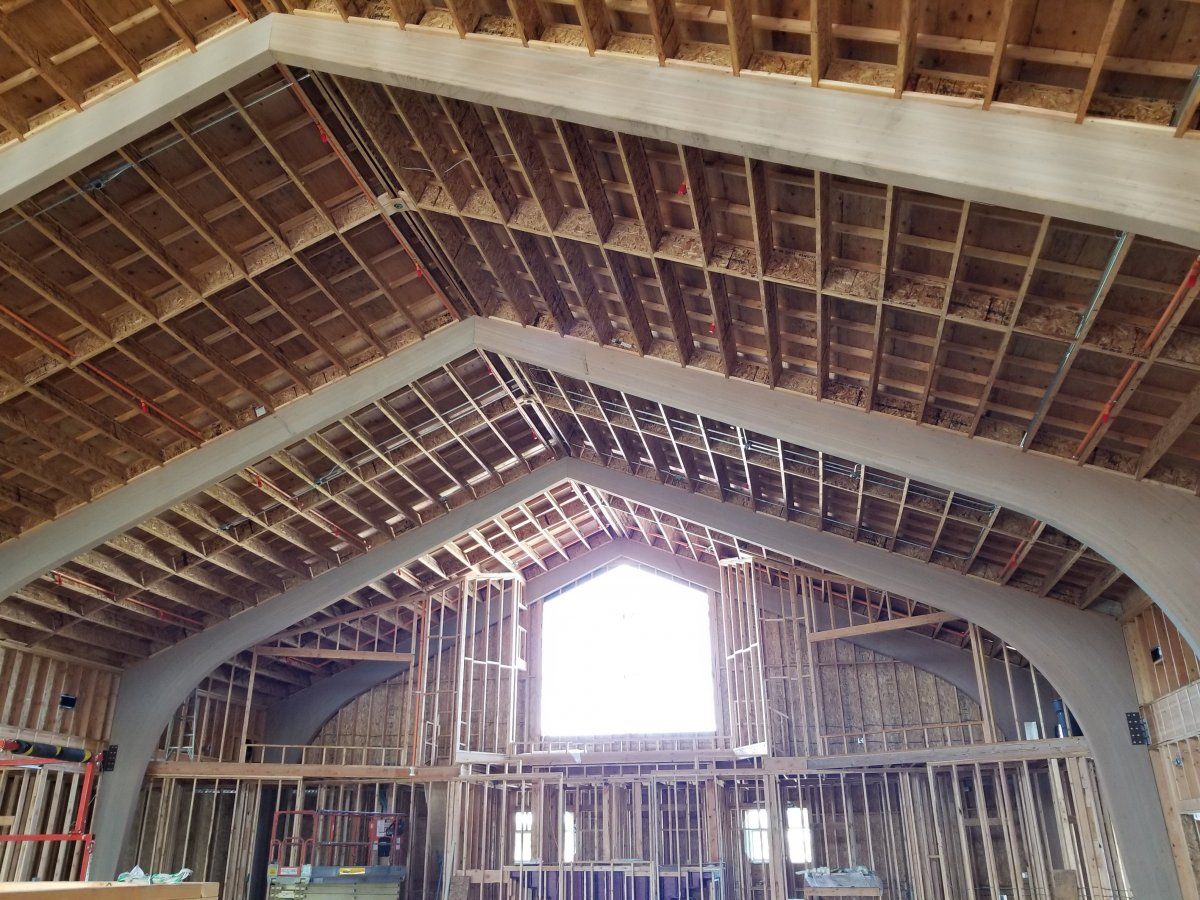 Roof framing with tudor truss