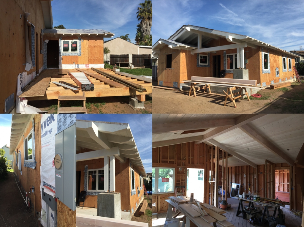 residential remodel of a Carpinteria beach house in progress