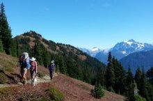 hiking with friends in the north cascades