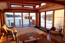 interior of luxury houseboat